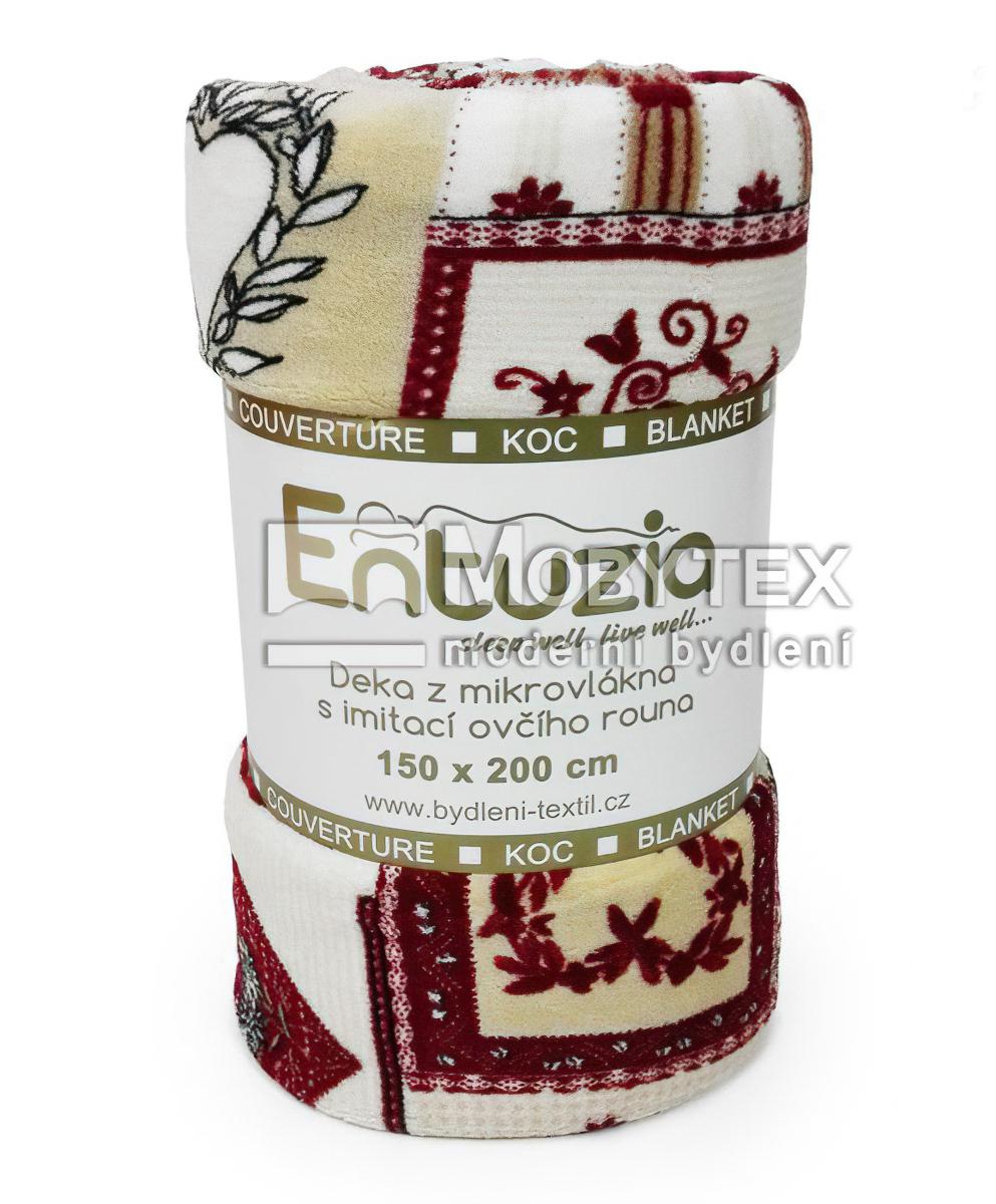 Entuzia deka z mikrovlákna BERÁNEK tisk patchwork vínový, 150x200cm