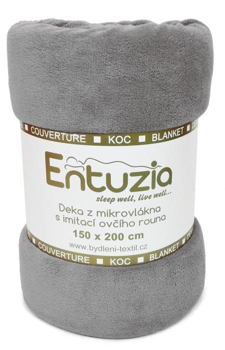 Entuzia deka z mikrovlákna BERÁNEK jednobarevná šedá, 150x200cm