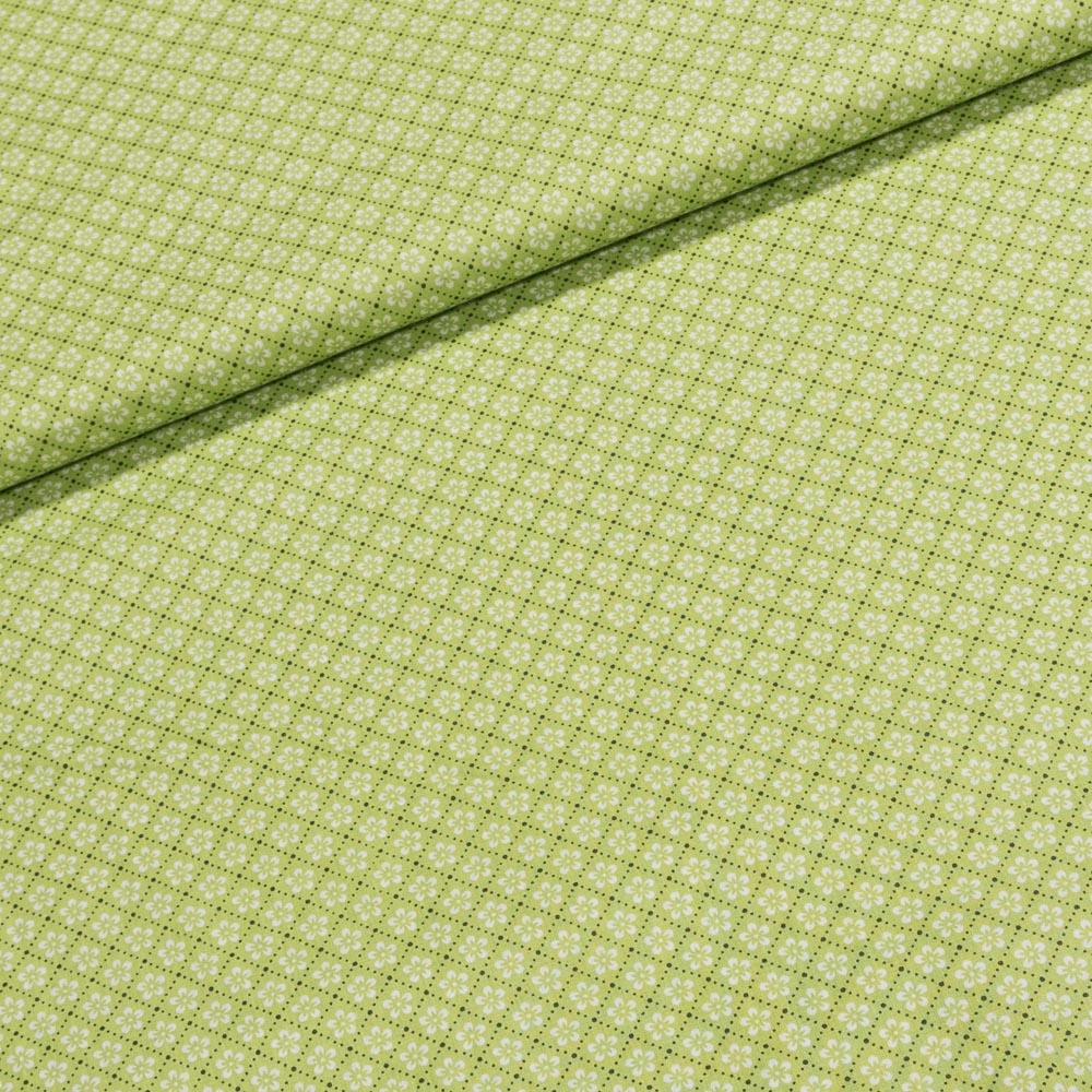 Bavlněné plátno 803000/40-576 bílá kytička na zelené, š.140cm (látka v metráži)