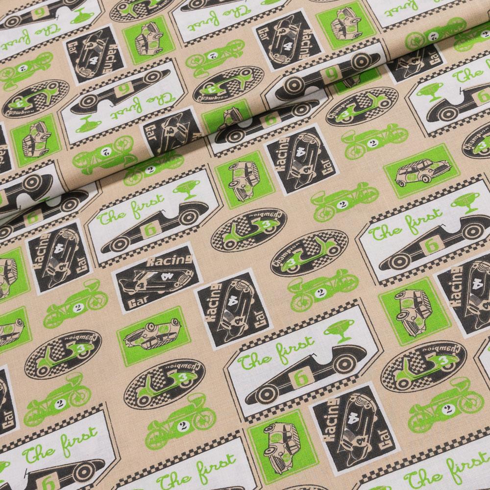 Bavlněné plátno dětské 12710 zelená auta na béžové, š.140cm (látka v metráži)