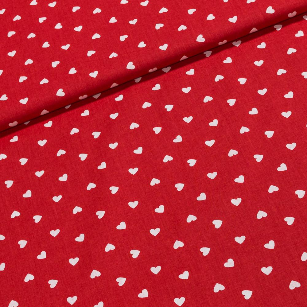 Bavlněné plátno SANDRA SA007/01 bílá srdce na červené, š.160cm (látka v metráži)
