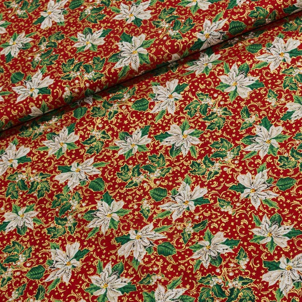 STOF Fabrics Bavlněné plátno vánoční 122.573-0801 bílá vánoční růže (hvězda), š.135cm (látka v metráži)