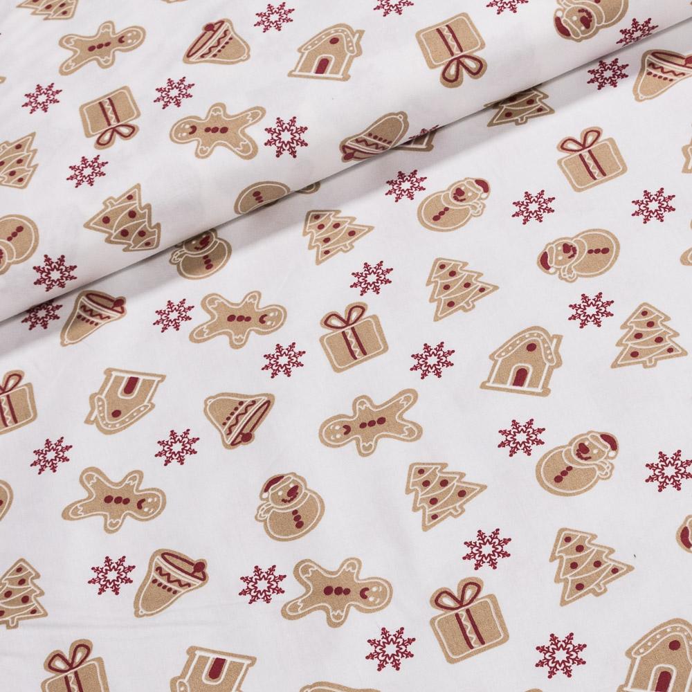 Bavlněné plátno vánoční 1602003-01 perníčky na bílé, š.140cm (látka v metráži)