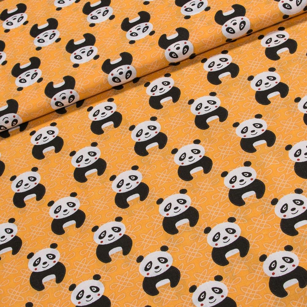 Bavlněné plátno dětské Aneta AN001/01 pandy na oranžové, š.160cm (látka v metráži)