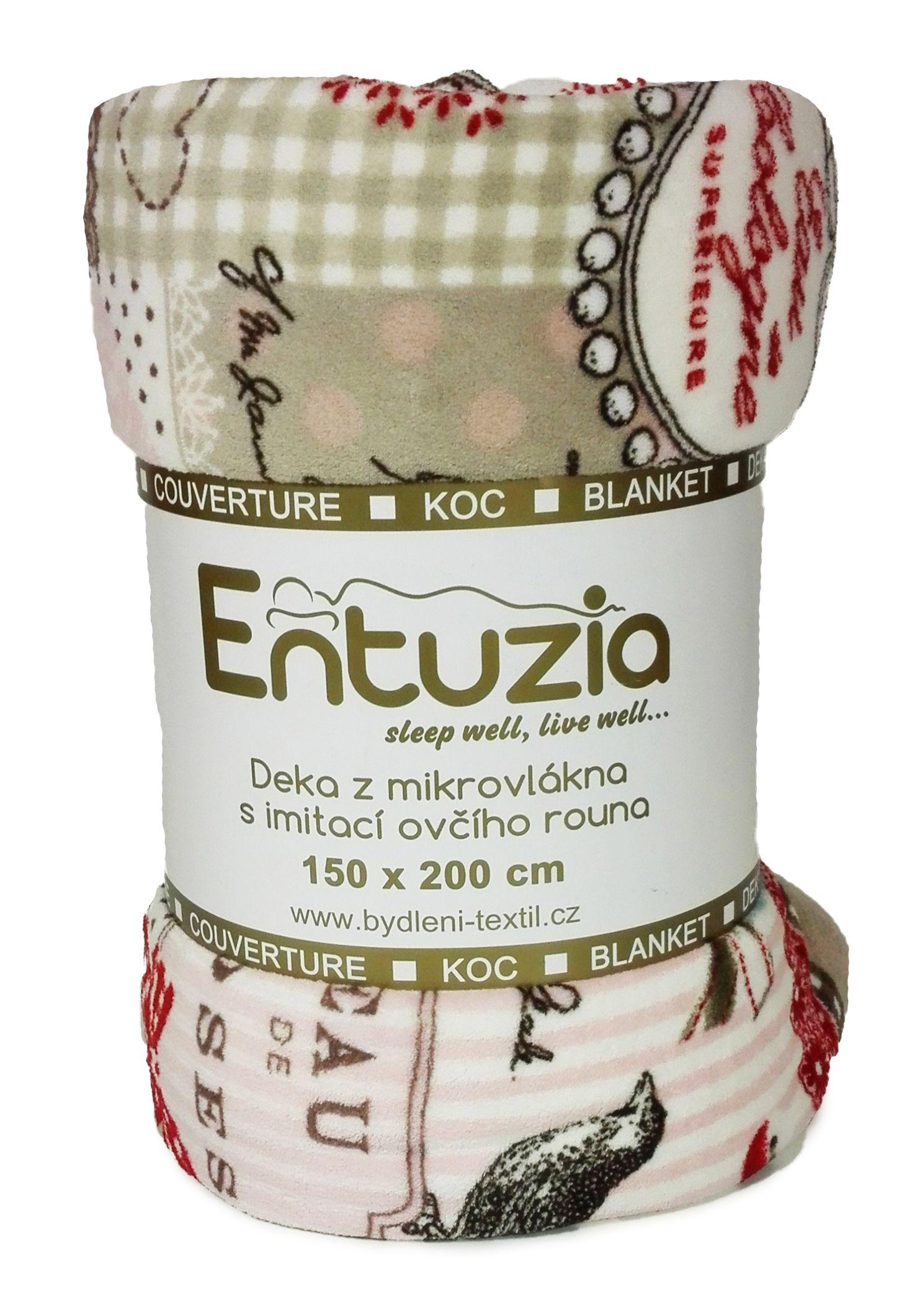 Entuzia deka z mikrovlákna BERÁNEK tisk patchwork růžový, 150x200cm