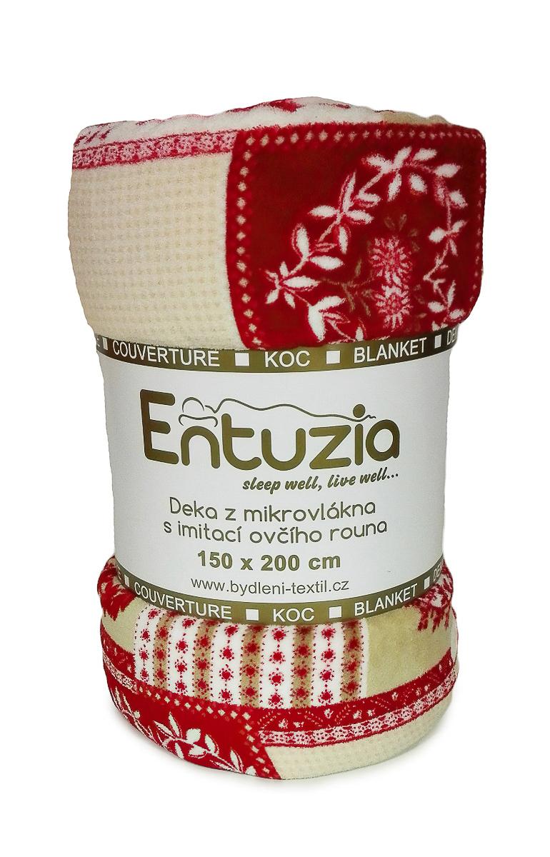 Entuzia deka z mikrovlákna BERÁNEK tisk patchwork červený, 150x200cm