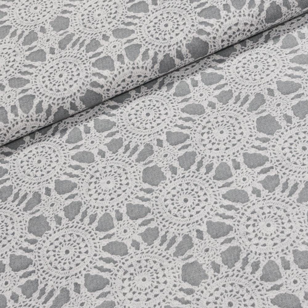 Směsové plátno 23397 bílá krajka na šedé, š.140cm (látka v metráži)