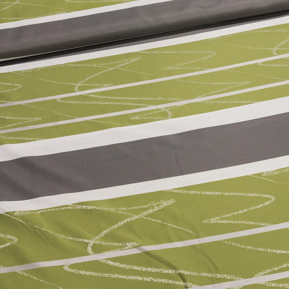 Českomoravská textilní Dekorační závěs, IBIZA 68 zelený proužek, šířka 150cm (látka v metráži)
