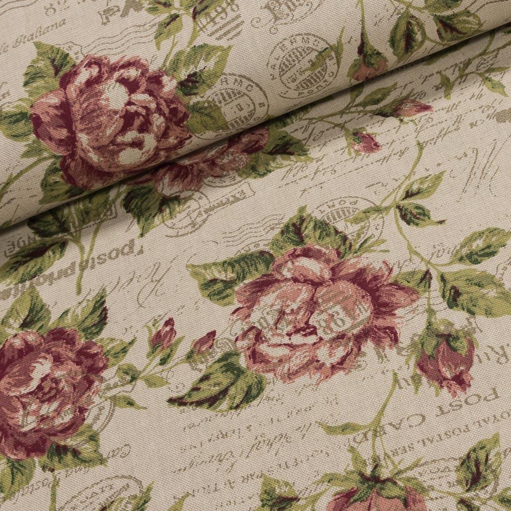Směsové plátno 1501308/36 RŮŽE RUSIKAL starorůžové růže na režné, š.140cm (látka v metráži)