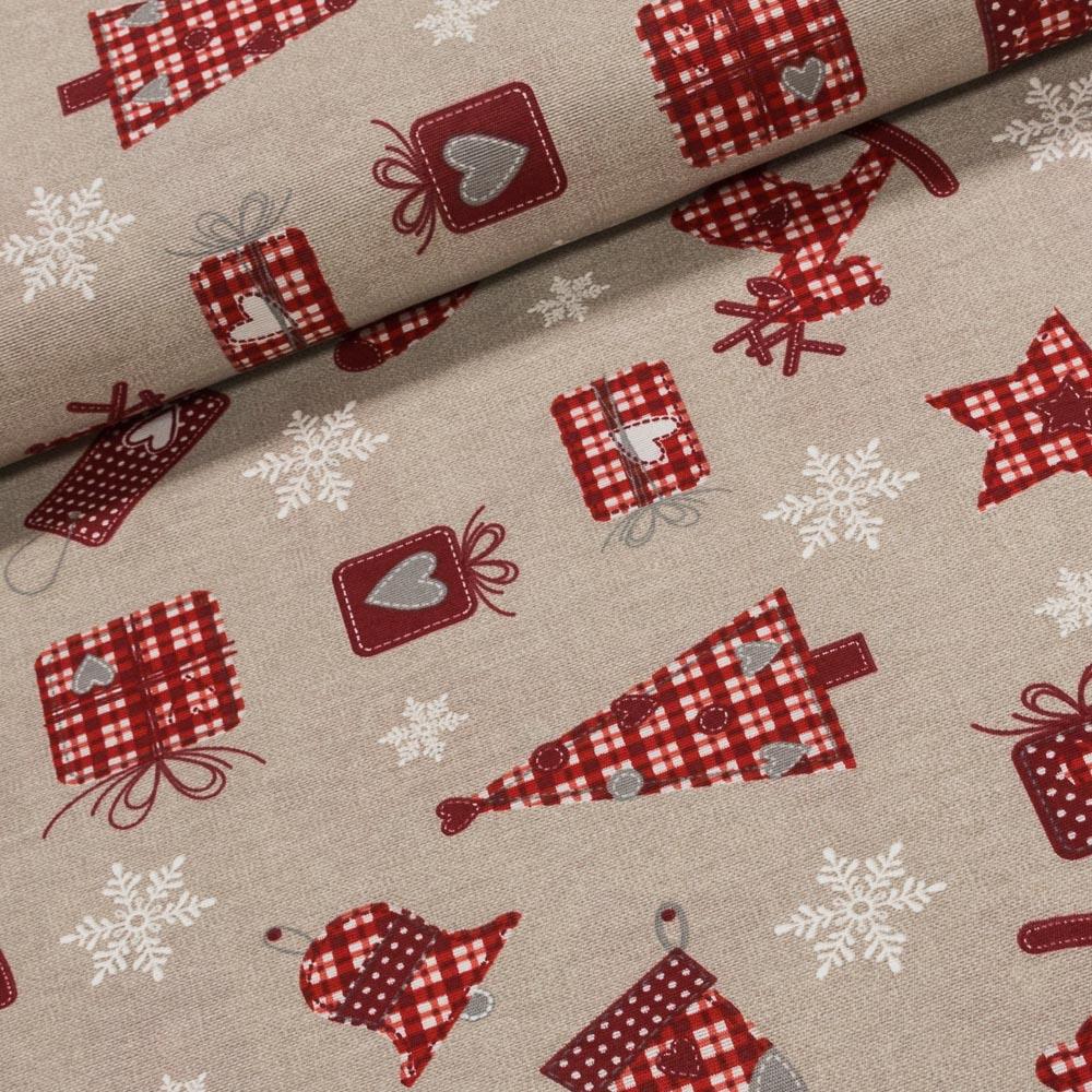 Směsové plátno vánoční 7030/031 VÁNOČNÍ DÁRKY červené motivy vánoc, š.140cm (látka v metráži)