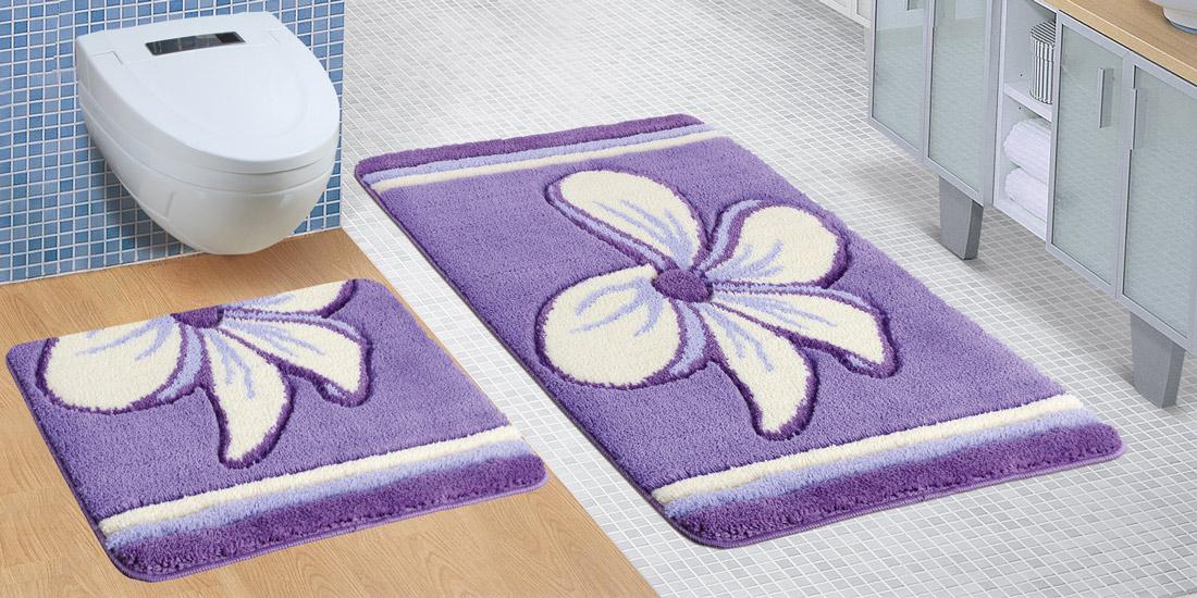 Bellatex koupelnová souprava FIALOVÝ KVĚT, 100x60cm (předložka) + 60x50cm (na WC)