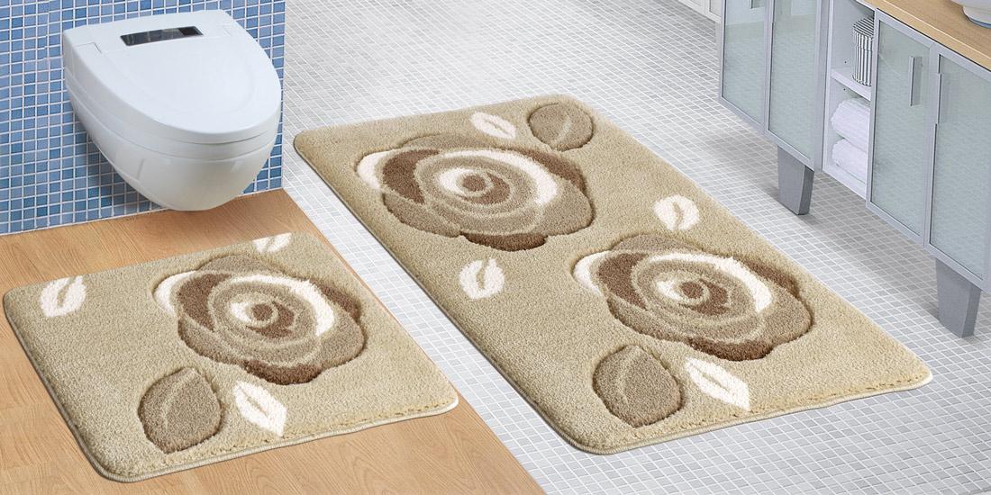 Bellatex koupelnová souprava HNĚDÉ RŮŽE, 100x60cm (předložka) + 60x50cm (na WC)