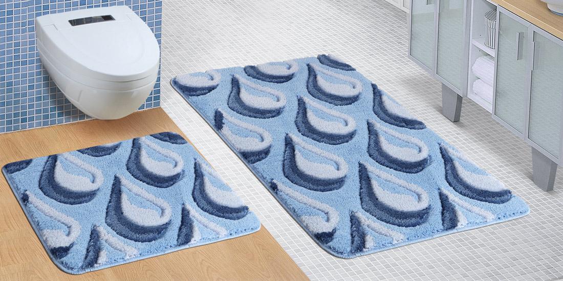Bellatex koupelnová souprava MODRÉ KAPKY, 100x60cm (předložka) + 60x50cm (na WC)