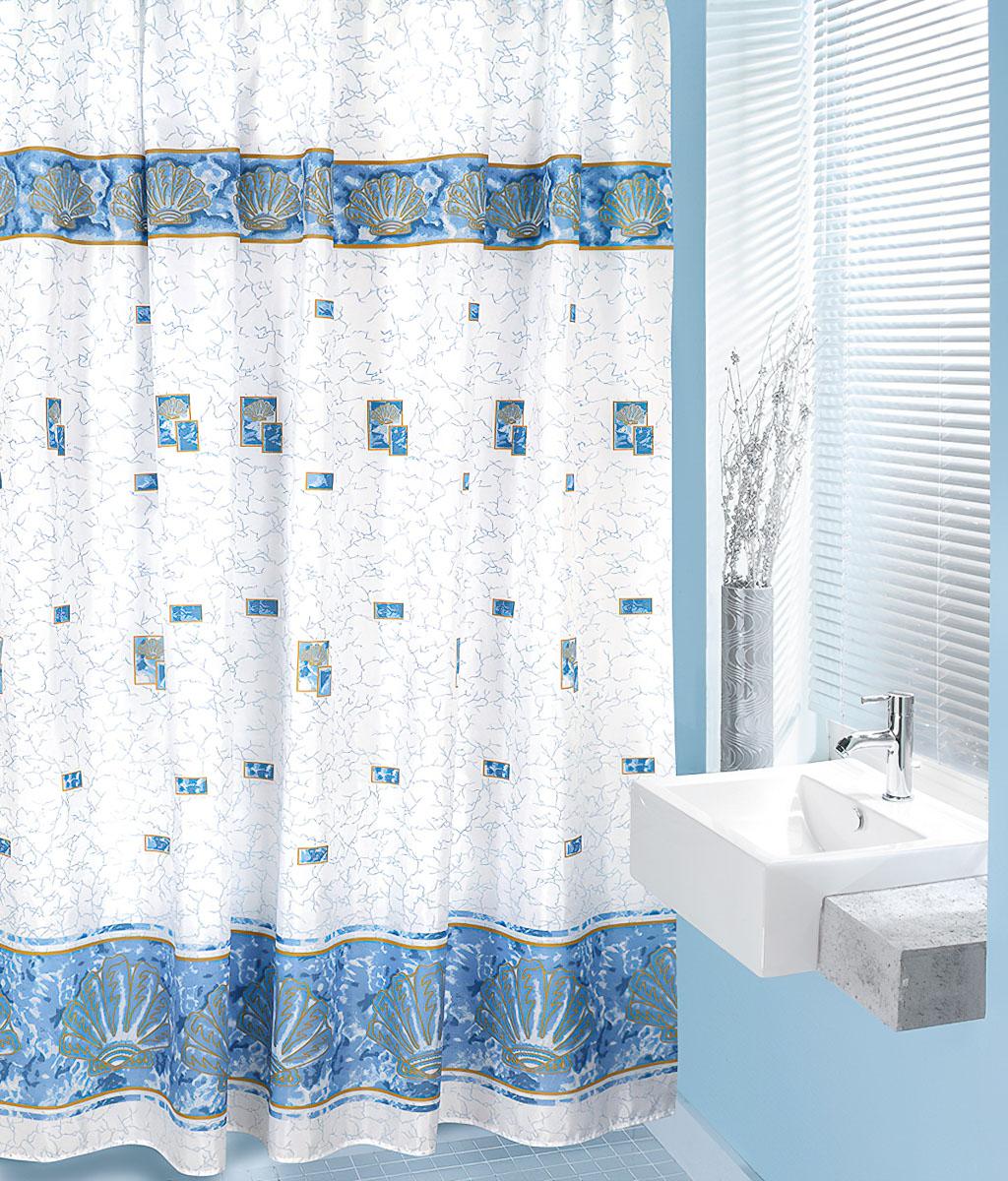 Bellatex koupelnový závěs MODRÉ MUŠLE, 180x200cm