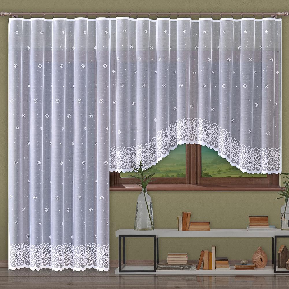 Forbyt kusová záclona HELIX jednobarevná bílá, výška 150 cm x šířka 300 cm (na okno)