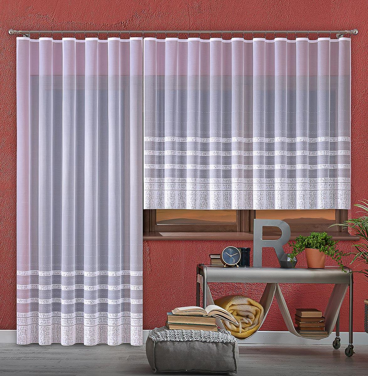 Forbyt kusová záclona KAROLÍNA jednobarevná bílá, výška 250 cm x šířka 200 cm (na dveře)