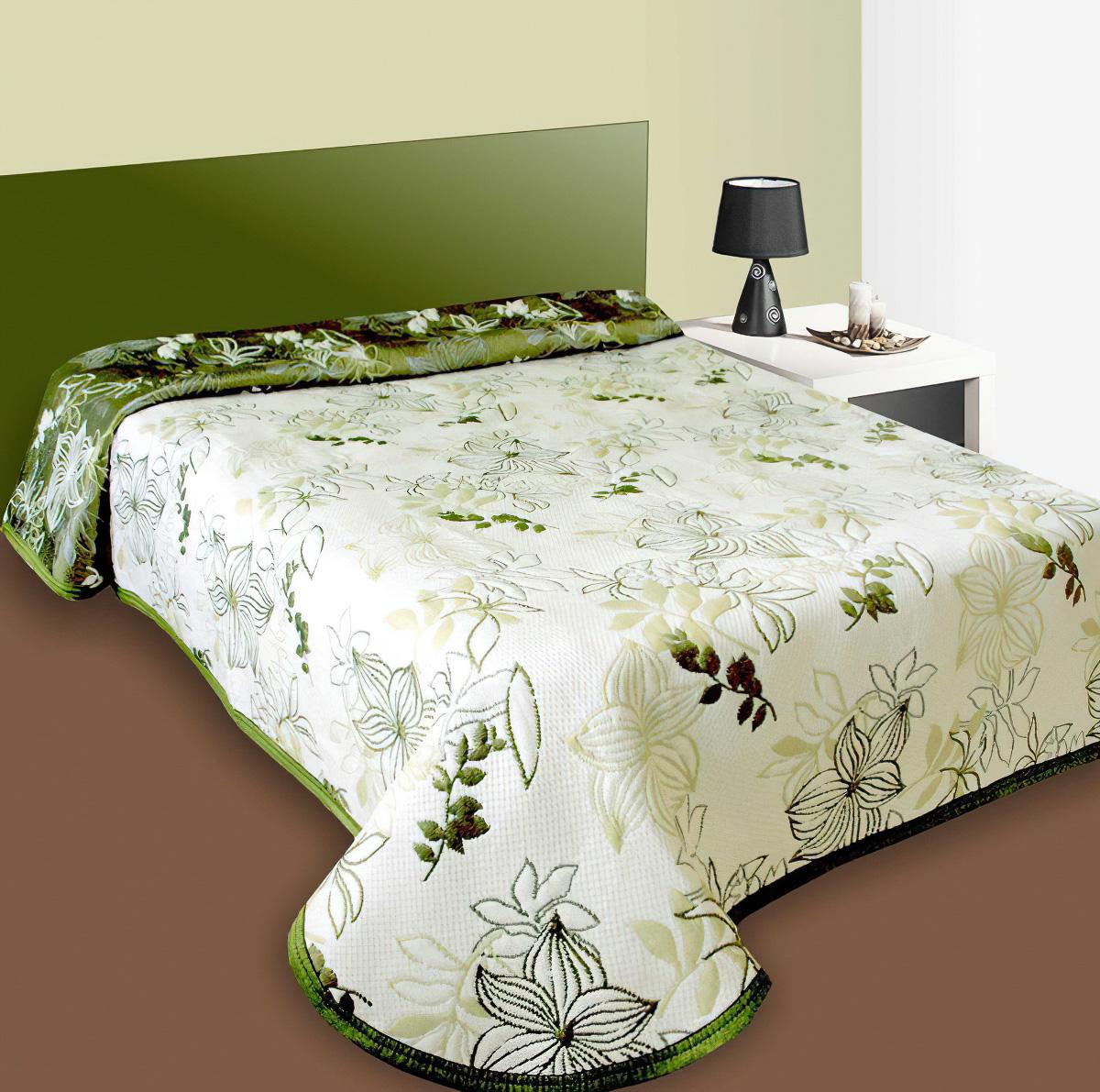 Forbyt Přehoz na postel LISABON bílý/zelený s listy, 140x220cm, jednolůžkový