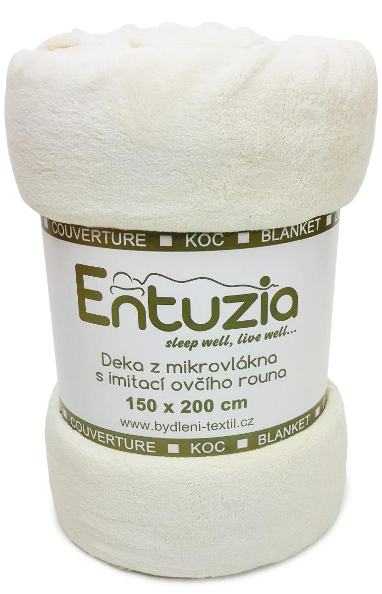 Entuzia deka z mikrovlákna BERÁNEK jednobarevná smetanová, 150x200cm