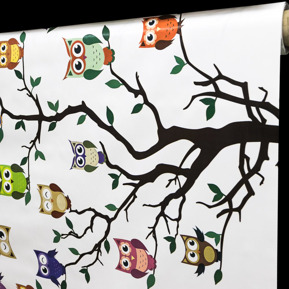 Ergis Ubrus PVC 434/01 bílý, barevné sovy na stromě, š.140cm (metráž)