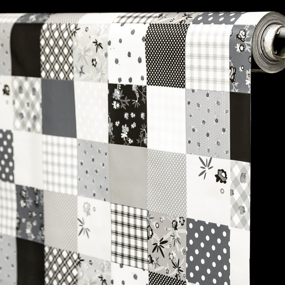 RexDeco Ubrus PVC 53F/08 černo-bílý patchwork, š.140cm (metráž)
