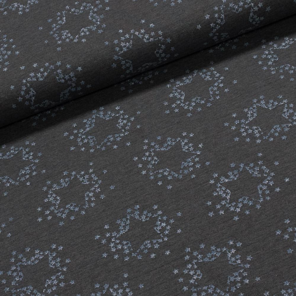 Směsový úplet LITTLE DARLING 128.514-3001 modré hvězdička na šedé, š.160cm (látka v metráži)