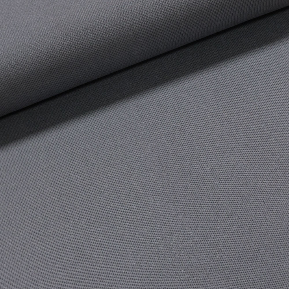 Žebrovaný bavlněný úplet NÁPLET uni jednobarevná světle šedá, š.40cm (látka v metráži)