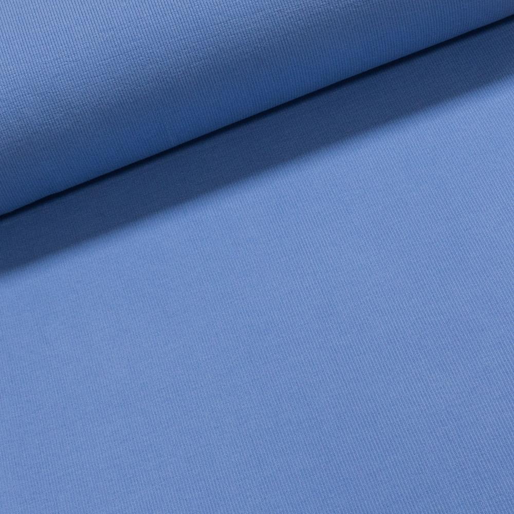 Žebrovaný bavlněný úplet NÁPLET uni jednobarevná světle modrá, š.40cm (látka v metráži)