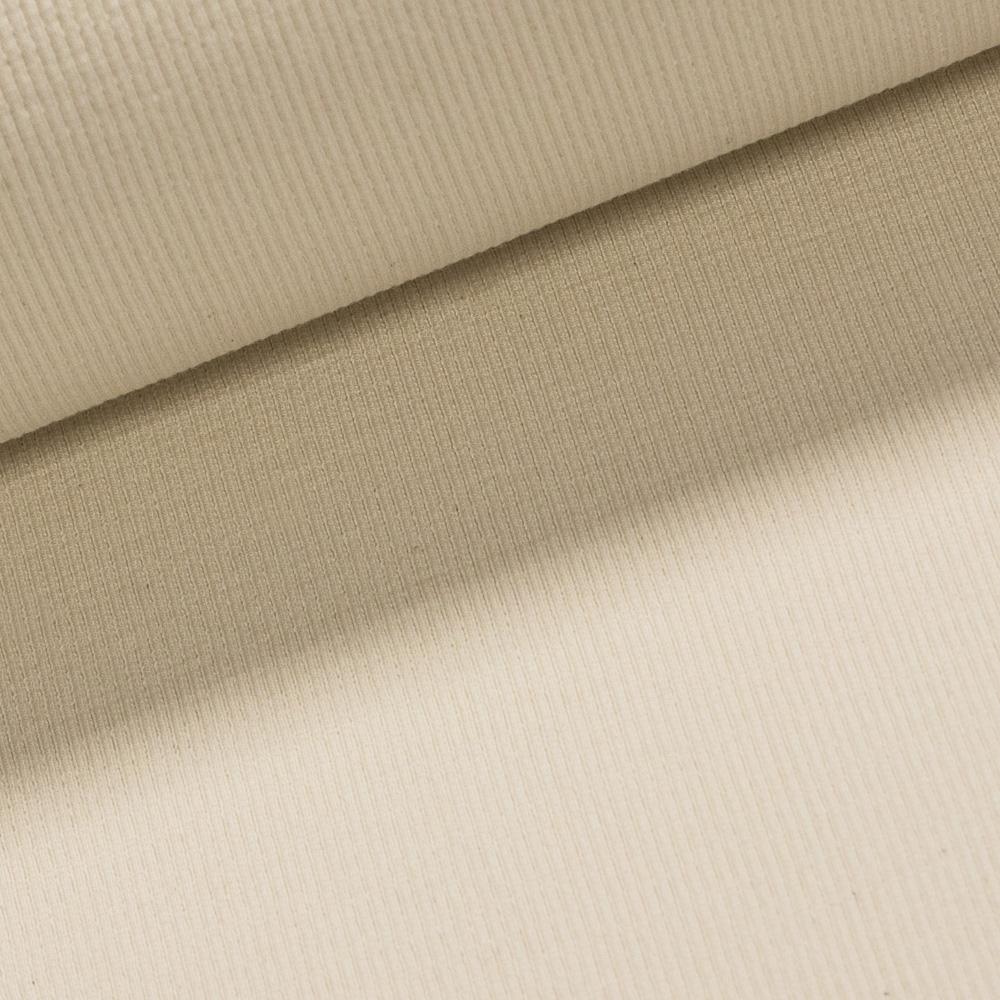 Žebrovaný bavlněný úplet NÁPLET uni jednobarevná smetanová, š.40cm (látka v metráži)