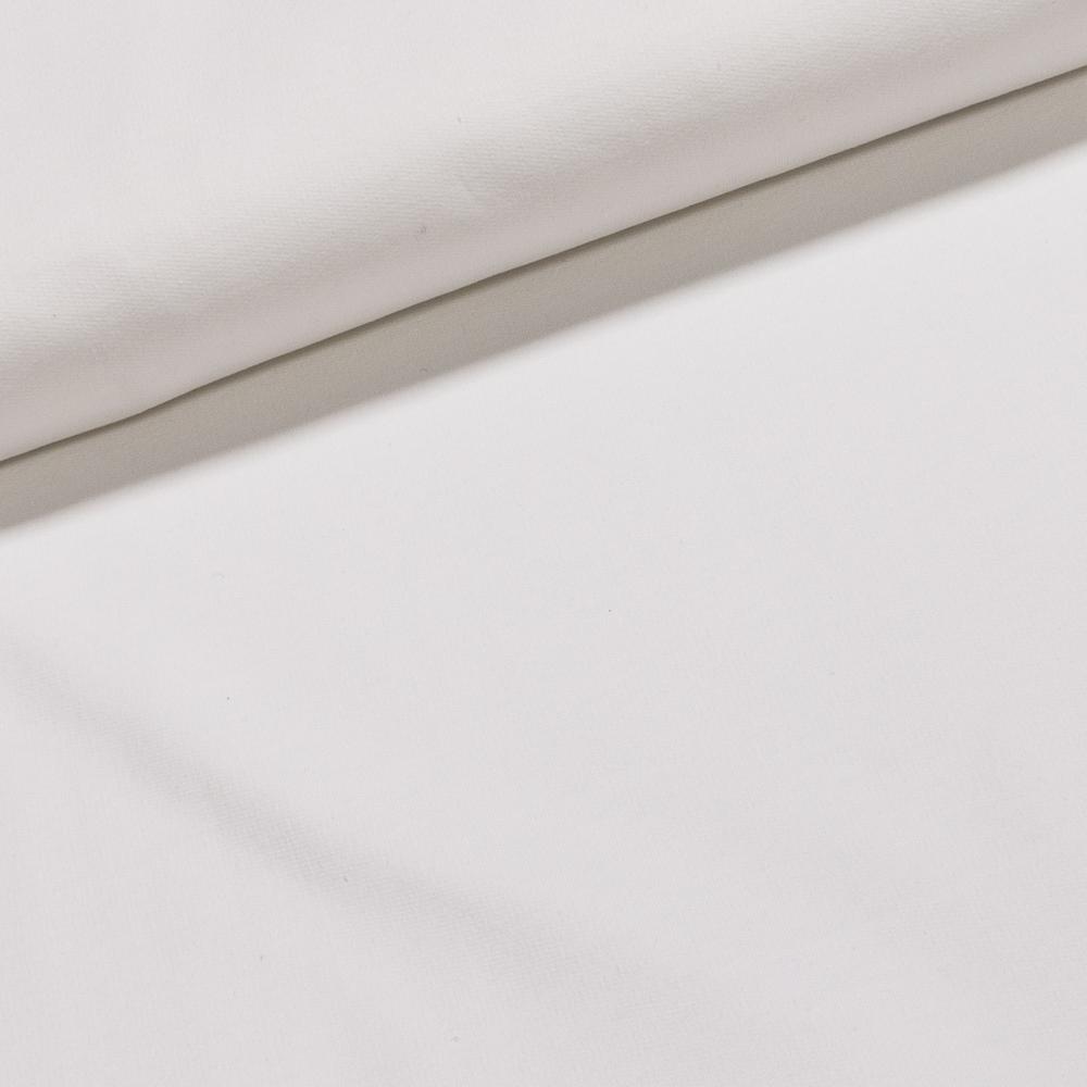 Bavlněný úplet teplákovina UNI jednobarevná bílá, š.180cm (látka v metráži)