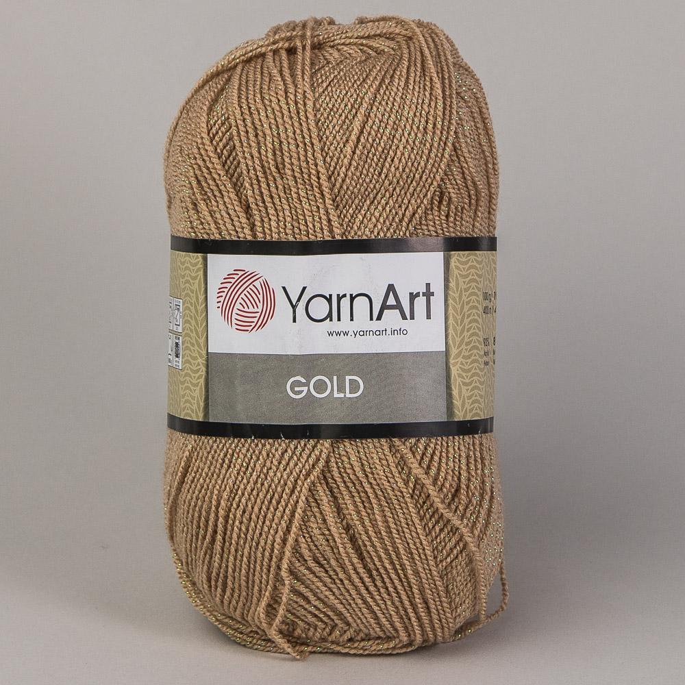 Pletací příze YarnArt GOLD 9370 oříšková, efektní, 100g/400m