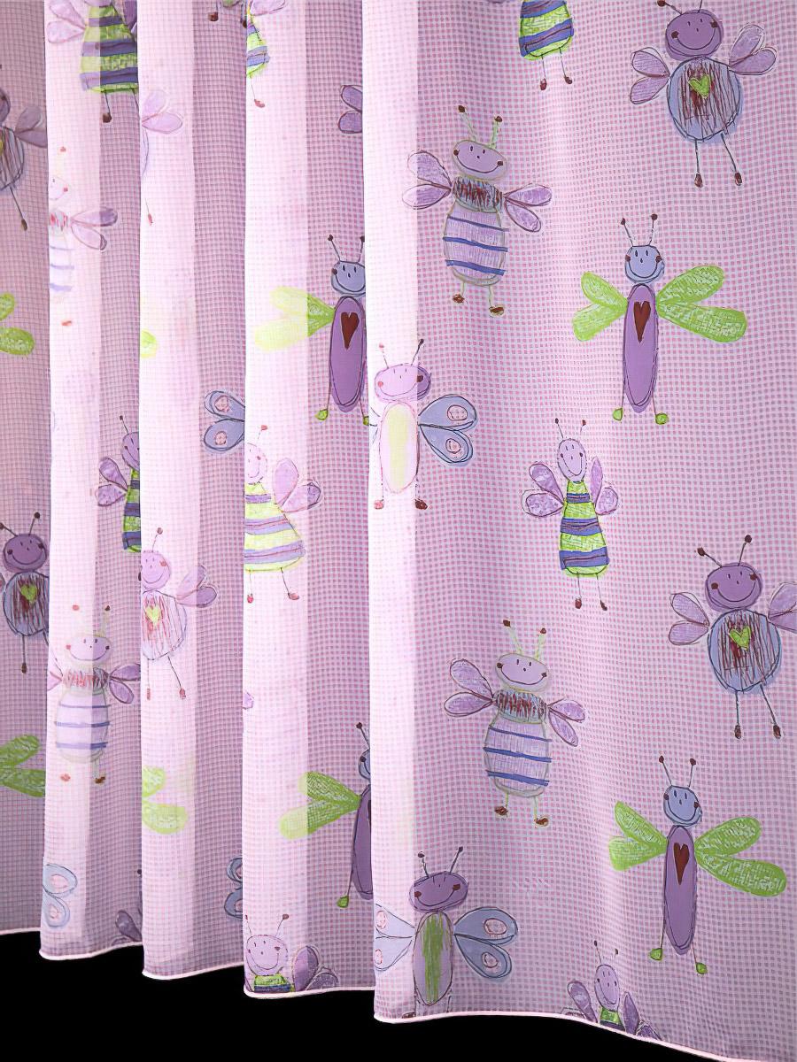 Rand voálová záclona dětská ASARUM-3 Hmyzáci na růžové, s olůvkem, růžová, výška 40cm ( v metráži)
