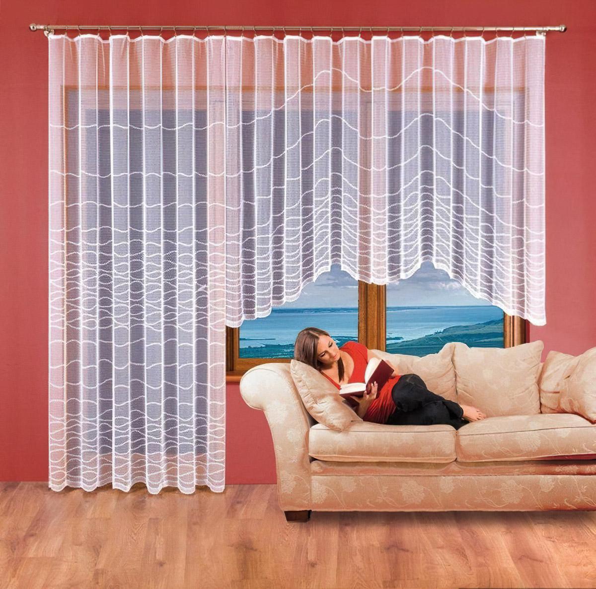 Forbyt Kusová záclona ANETA jednobarevná bílá, výška 160 cm x šířka 350 cm + výška 250 cm x šířka 200 cm (balkonový set)