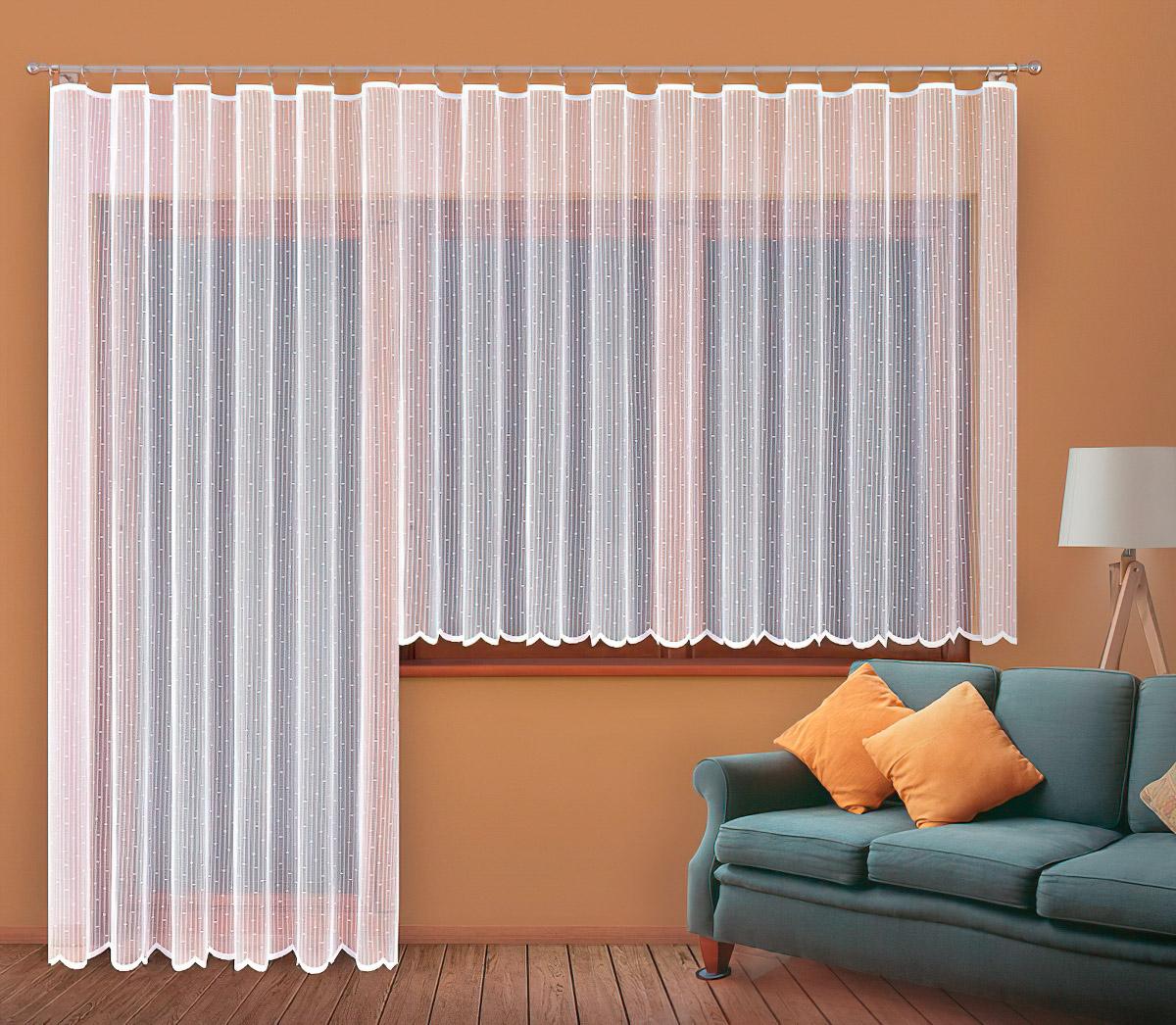 Forbyt kusová záclona DORA jednobarevná bílá, výška 160 cm x šířka 400 cm (na okno)