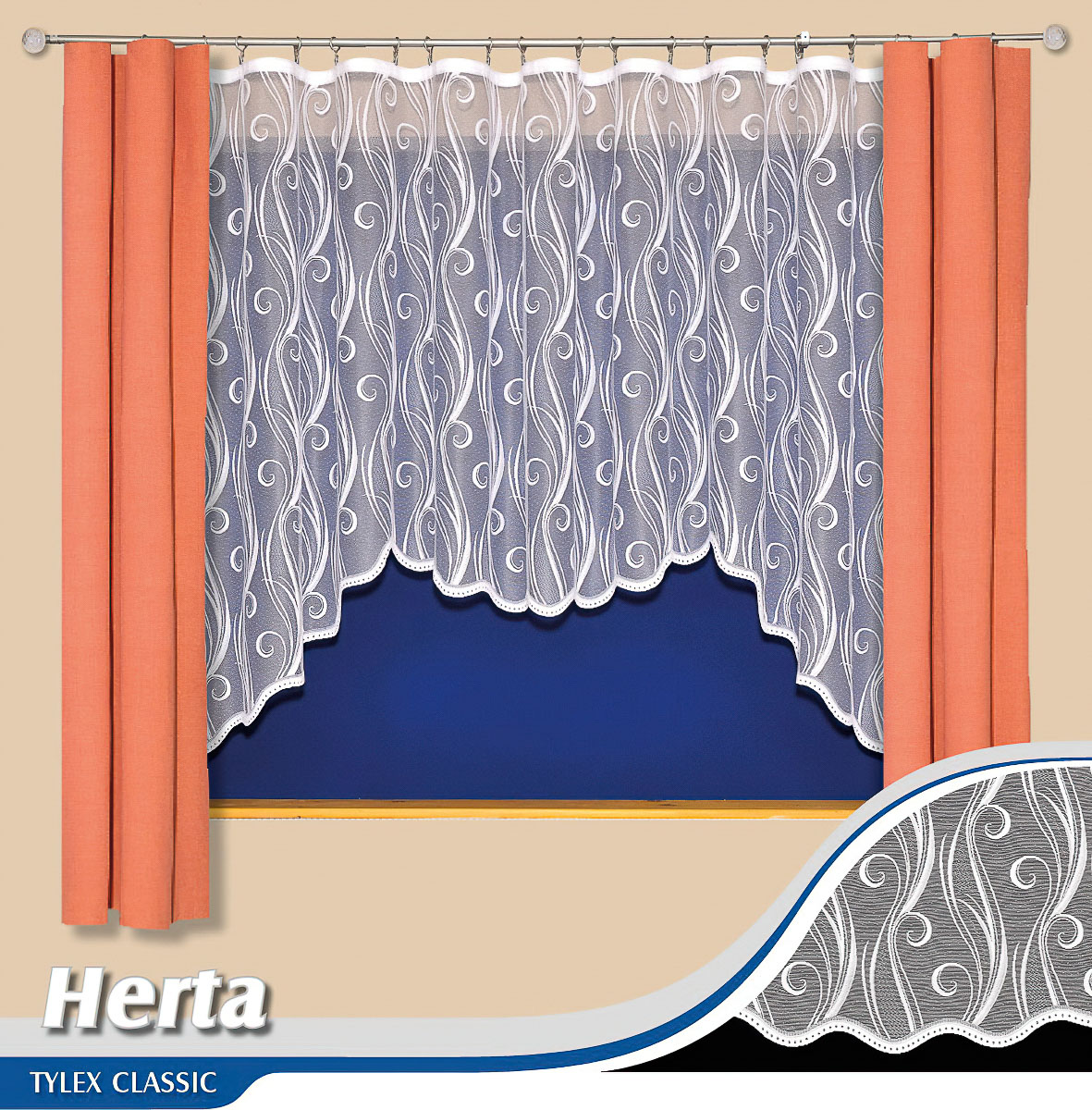 Tylex kusová záclona HERTA jednobarevná bílá, výška 160 cm x šířka 300 cm (na okno)