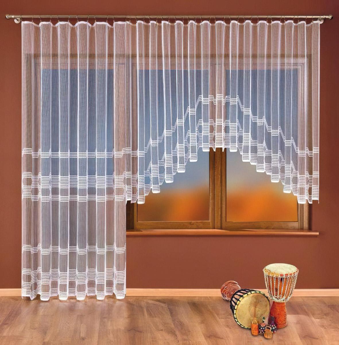 Forbyt kusová záclona IVONA jednobarevná bílá, výška 160 cm x šířka 400 cm (na okno)