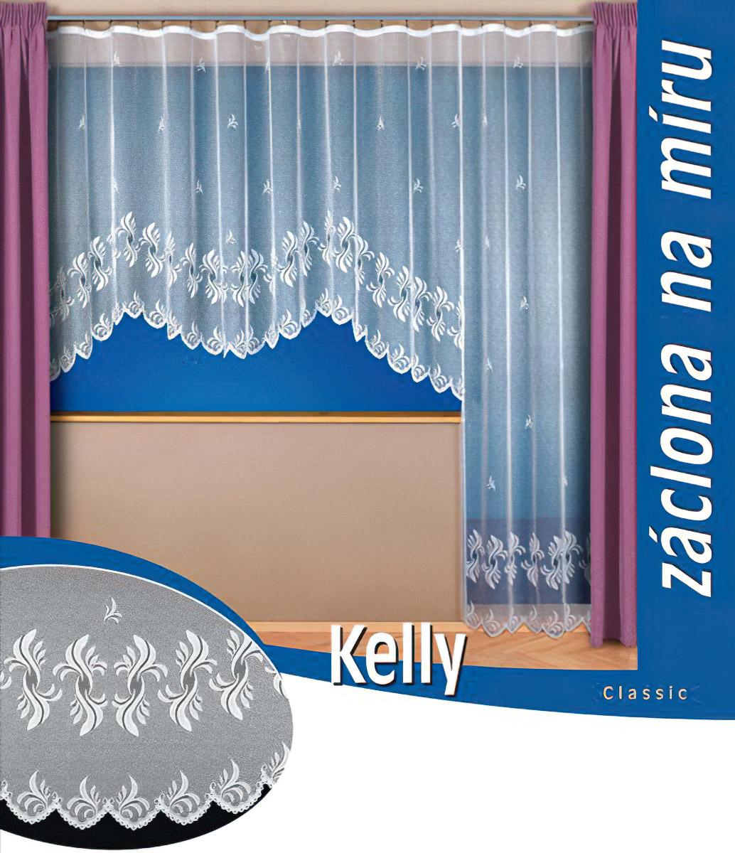 Tylex kusová záclona KELLY jednobarevná bílá, výška 250 cm x šířka 180 cm (na dveře)