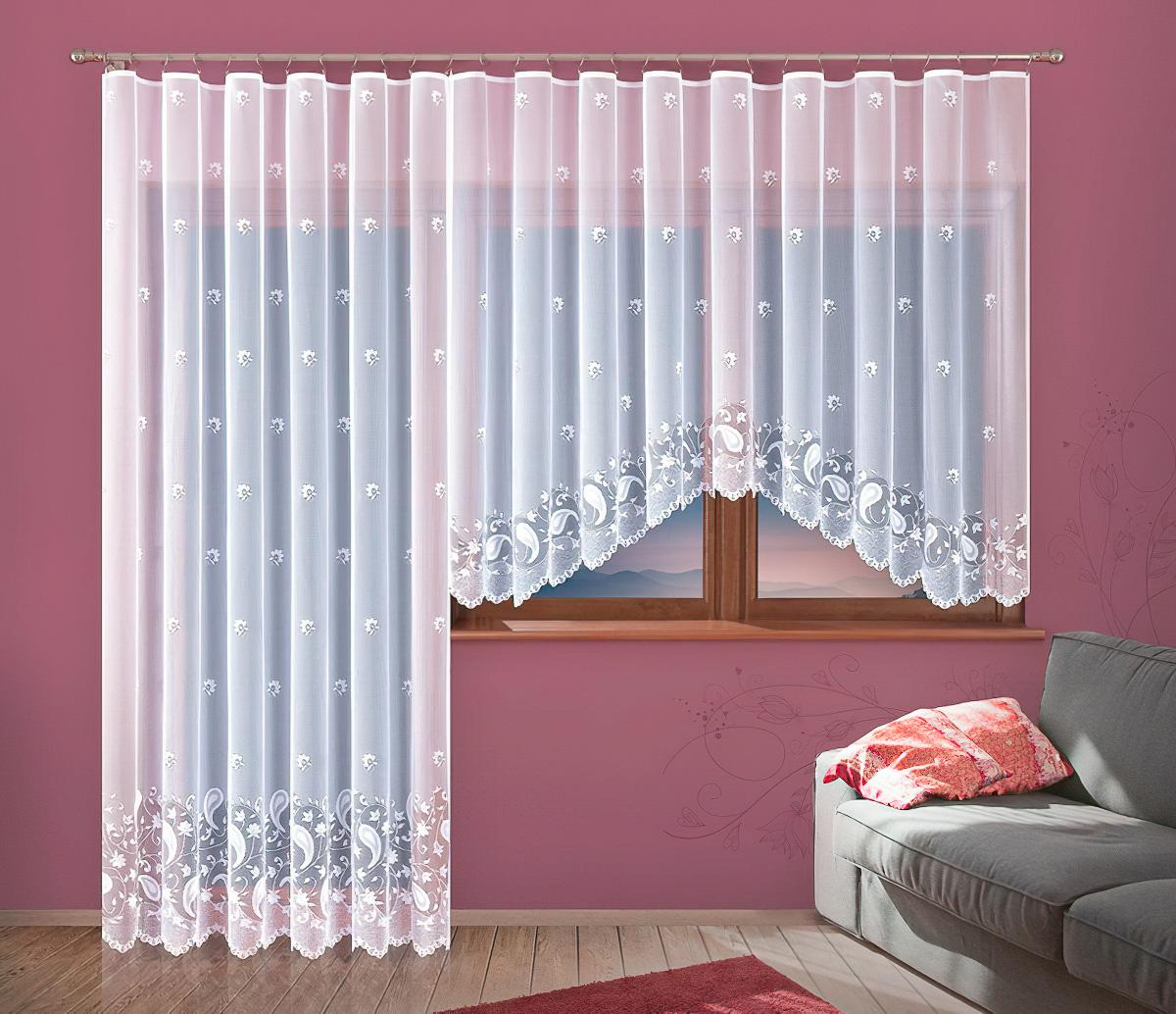 Forbyt kusová záclona KRISTÝNA jednobarevná bílá, výška 150 cm x šířka 300 cm (na okno)