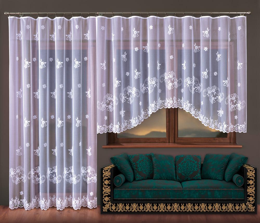 Forbyt kusová záclona KVĚTUŠE jednobarevná bílá, výška 150 cm x šířka 300 cm (na okno)