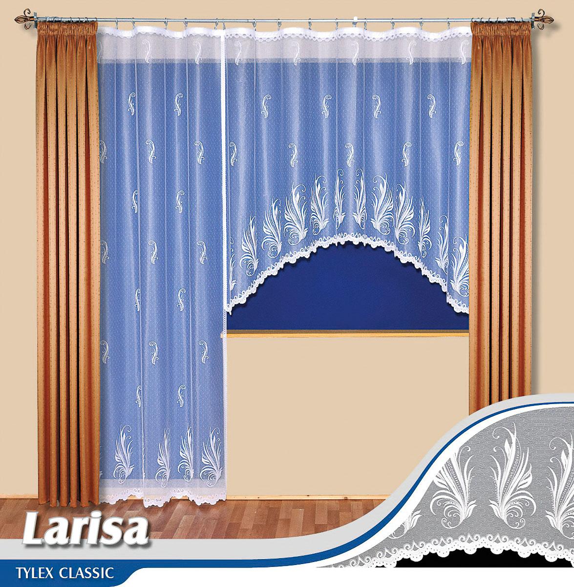 Tylex kusová záclona LARISA jednobarevná bílá, výška 250 cm x šířka 200 cm (na dveře)
