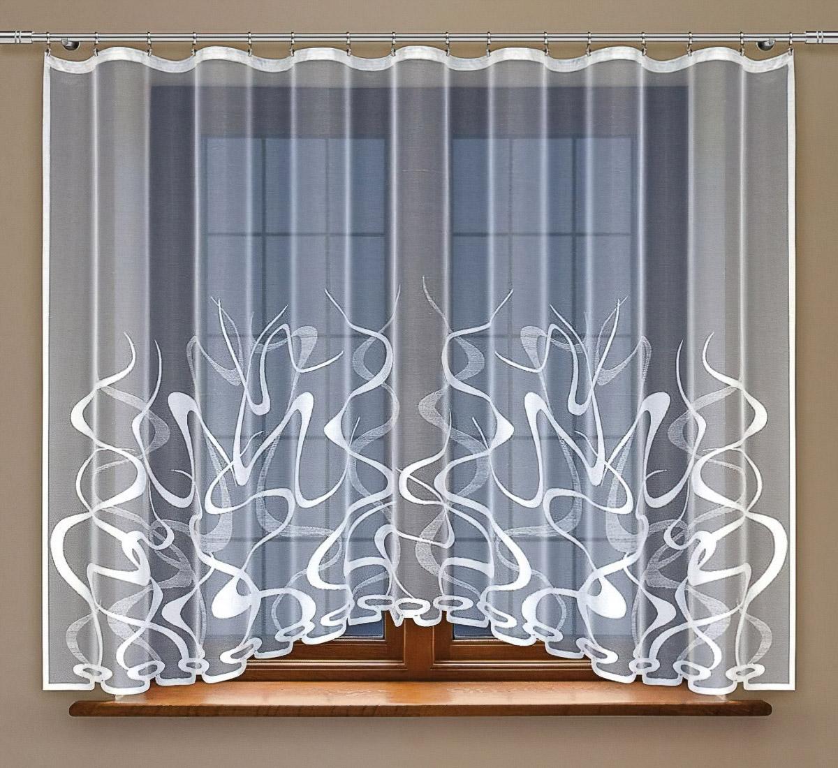 Olzatex kusová záclona LION 2 jednobarevná bílá, výška 160 cm x šířka 300 cm (na okno)