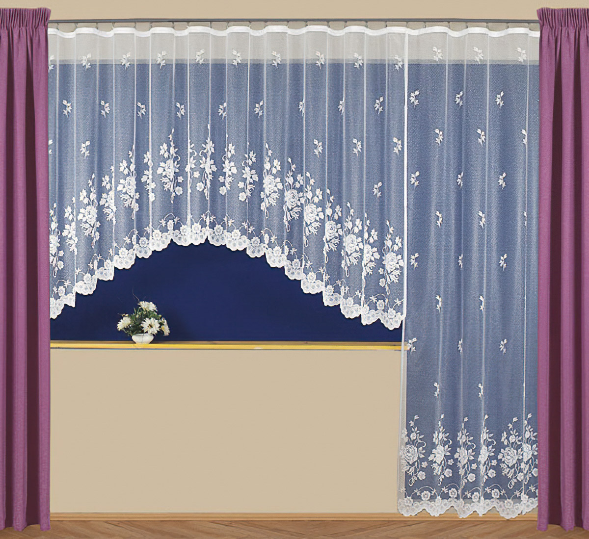 Tylex kusová záclona LOSTRIS jednobarevná bílá, výška 250 cm x šířka 180 cm (na dveře)