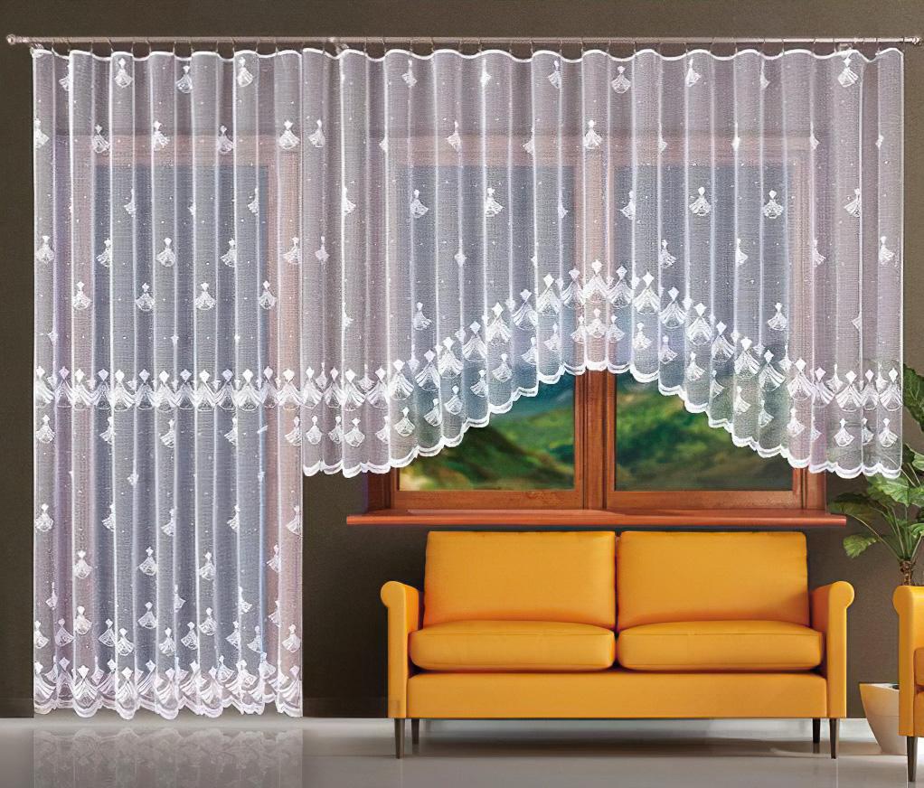Forbyt Kusová záclona LUCIE jednobarevná bílá, výška 160 cm x šířka 400 cm + výška 250 cm x šířka 200 cm (balkonový set)