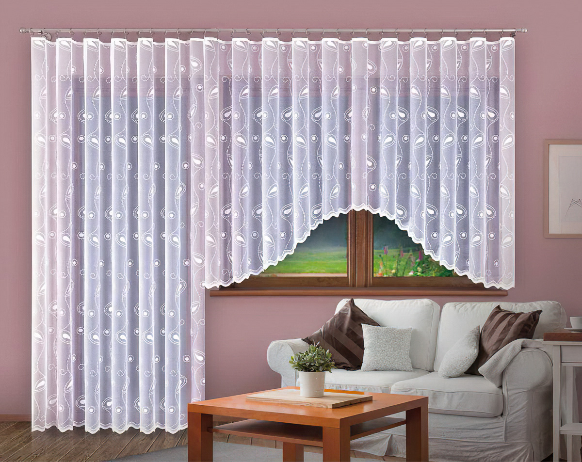 Forbyt Kusová záclona oblouková MARGITA jednobarevná bílá, v.150 cm x š.330 cm (na okno)