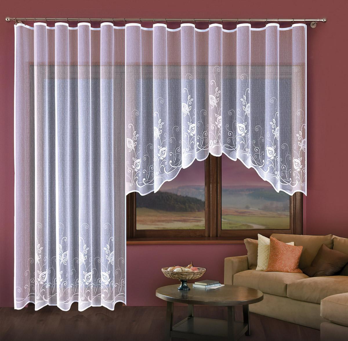 Forbyt Kusová záclona PATRICIE jednobarevná bílá, výška 150 cm x šířka 300 cm + výška 250 cm x šířka 200 cm (balkonový set)