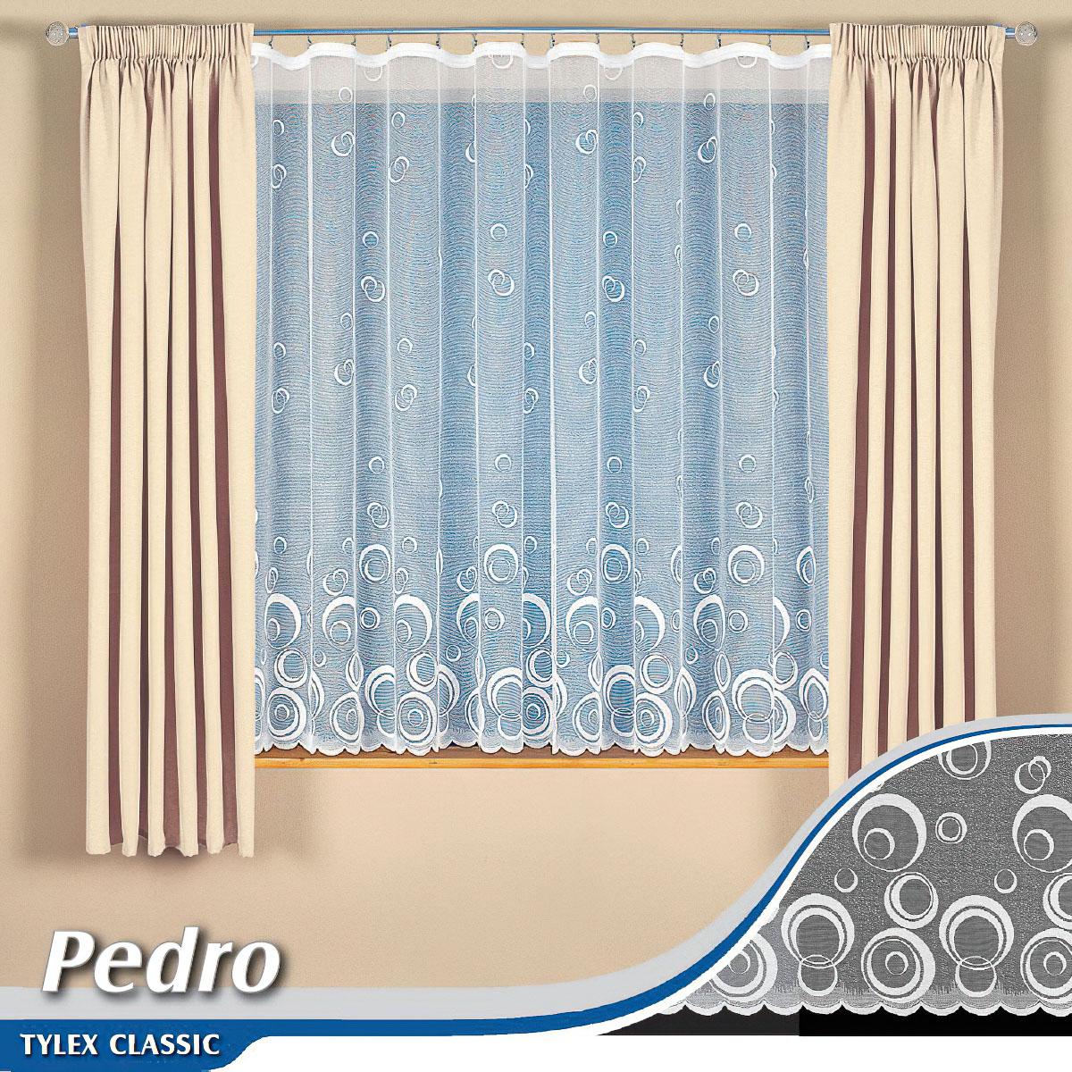 Tylex kusová záclona PEDROI jednobarevná bílá, výška 160 cm x šířka 300 cm (na okno)