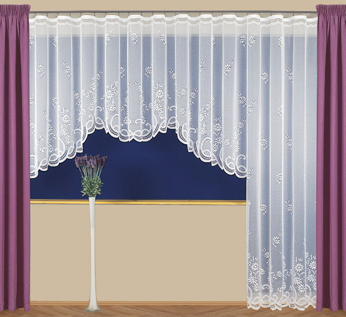 Tylex kusová záclona RÁCHEL jednobarevná bílá, výška 250 cm x šířka 180 cm (na dveře)