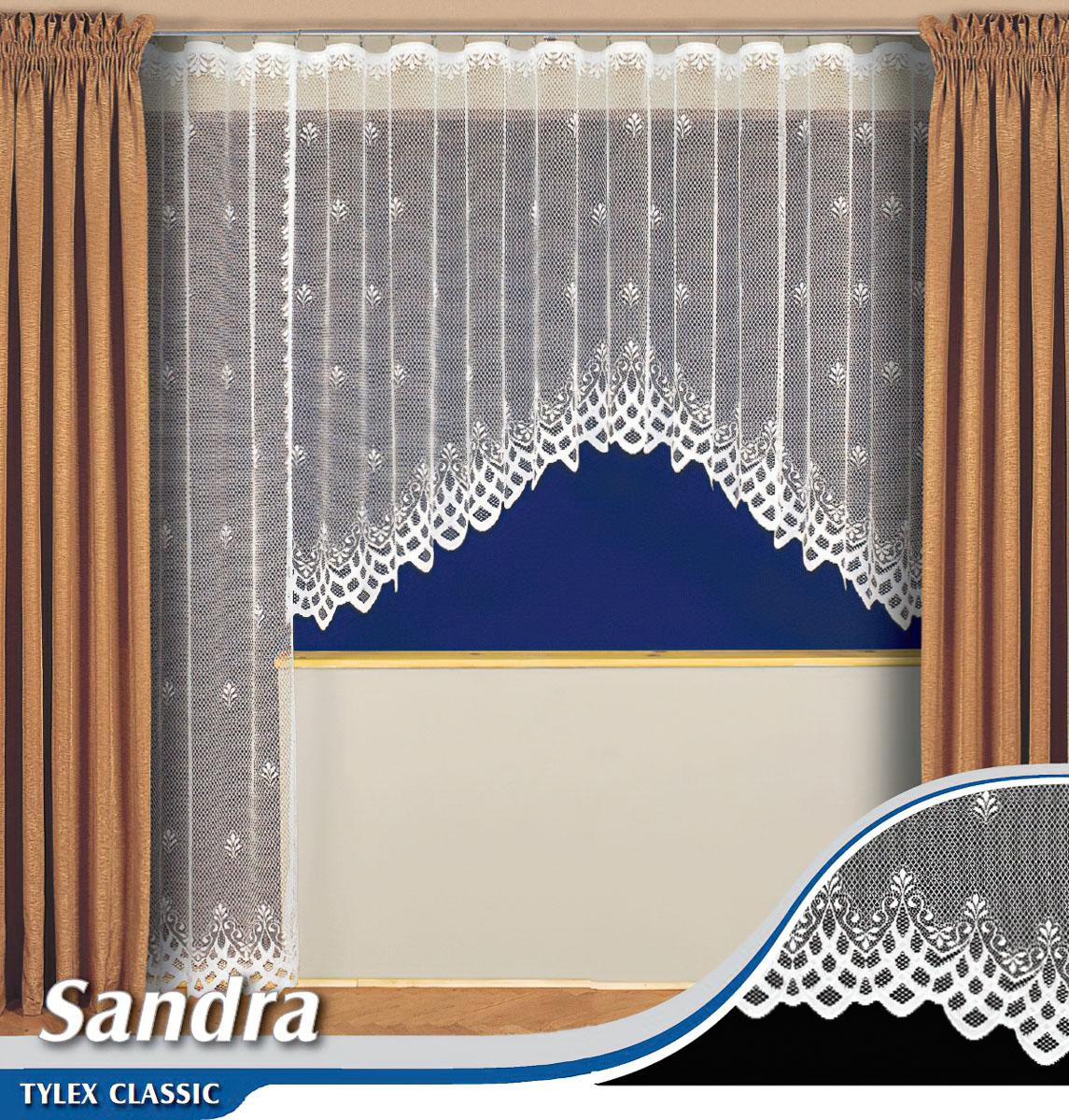 Tylex kusová záclona SANDRA K7137 jednobarevná bílá, výška 250 cm x šířka 180 cm (na dveř