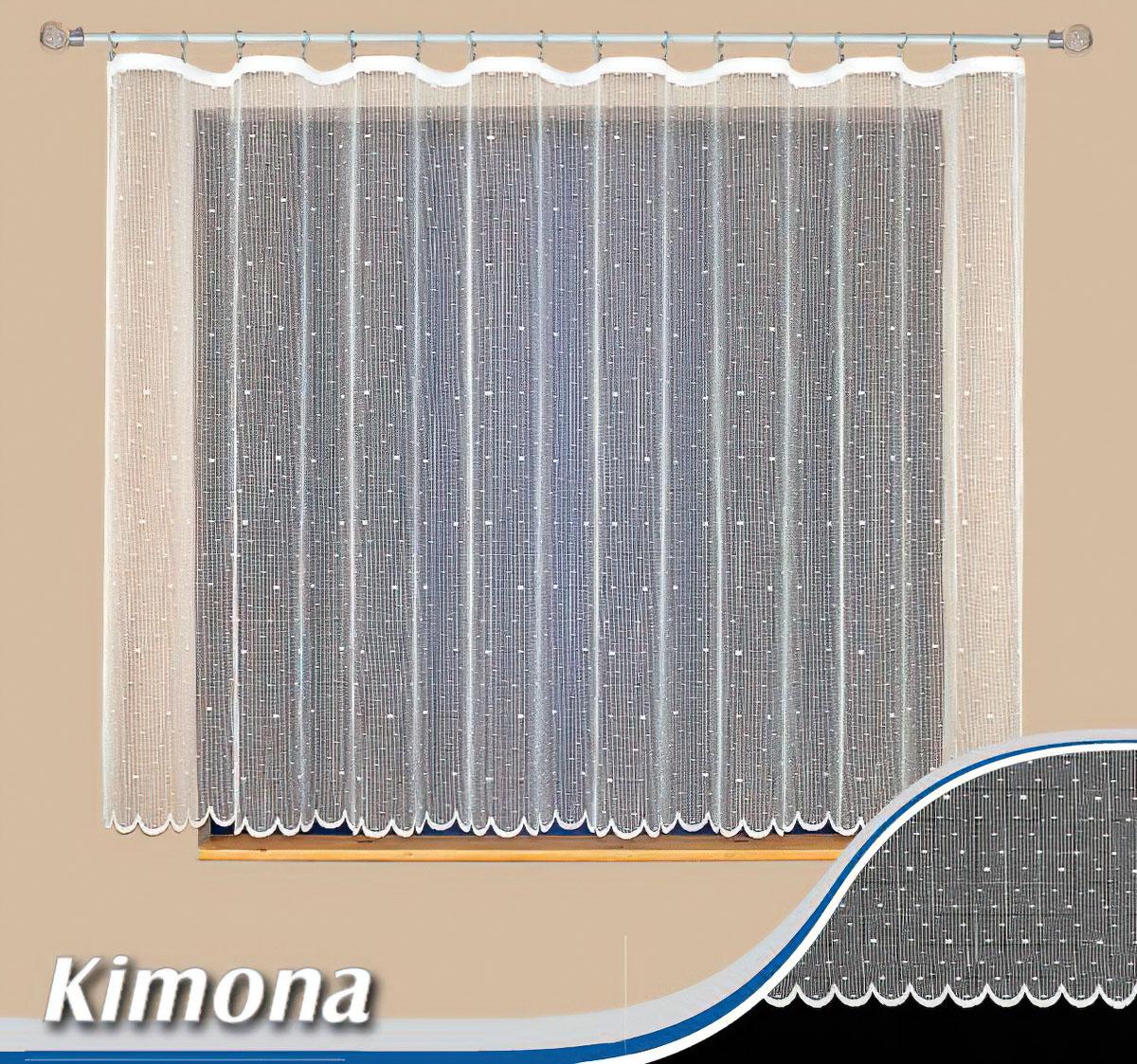 Tylex kusová záclona KIMONA jednobarevná bílá, výška 150 cm x šířka 300 cm (na okno)