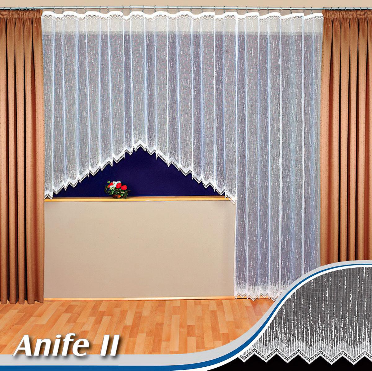 Tylex kusová záclona ANIFE2-02 jednobarevná bílá, výška 160 cm x šířka 315 cm (na okno)