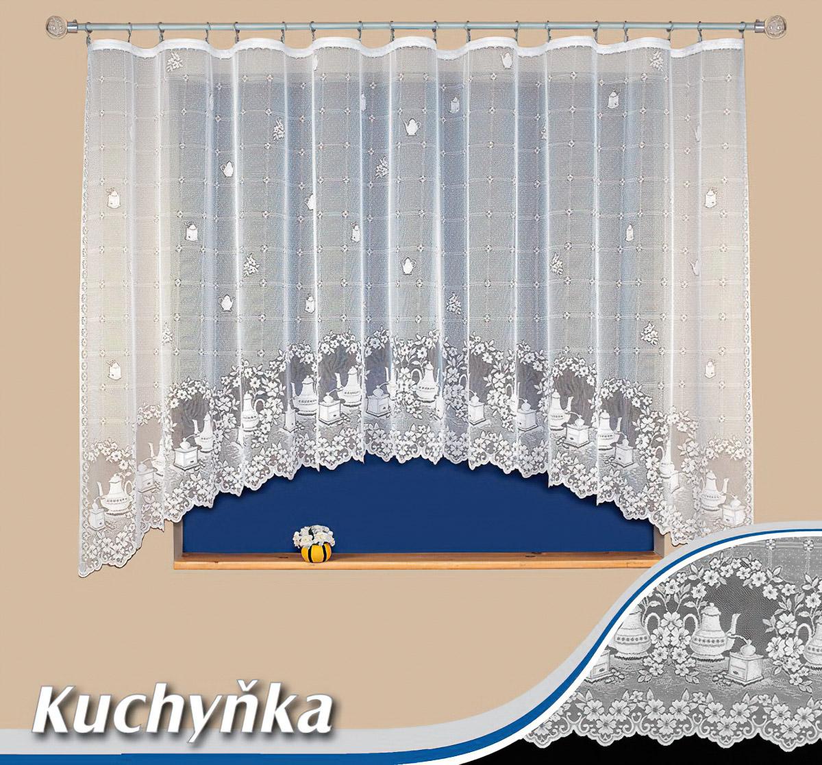 Tylex kusová záclona KUCHYŇKA jednobarevná bílá, výška 160 cm x šířka 310 cm (na okno)